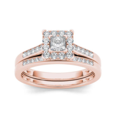 jcpenney.com | 1/2 CT. T.W. Diamond 10K Rose Gold Bridal Set Ring