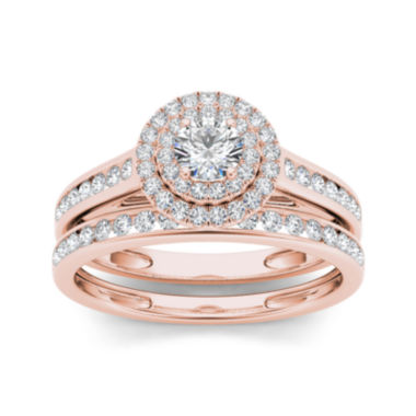 jcpenney.com | 3/4 CT. T.W. Diamond 10K Rose Gold Bridal Ring Set