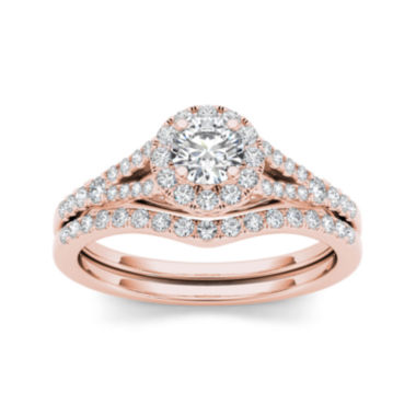 jcpenney.com | 3/4 CT. T.W. Diamond 10K Rose Gold Bridal Set Ring