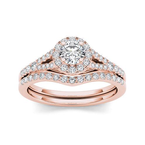 3/4 CT. T.W. Diamond 10K Rose Gold Bridal Set Ring