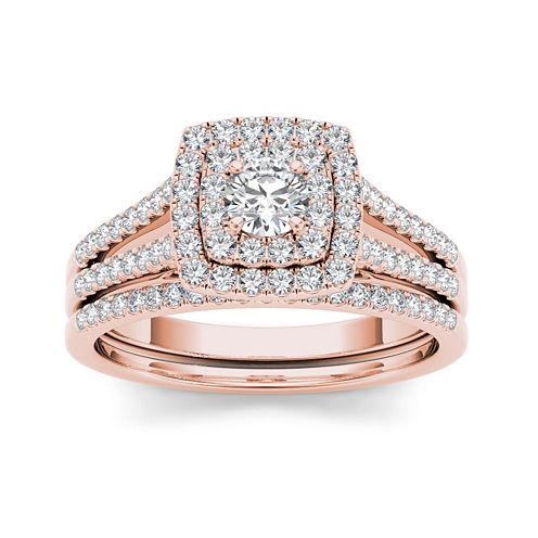 3/4 CT. T.W. Diamond 10K Rose Gold Bridal Set