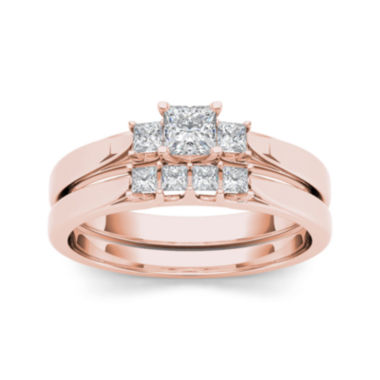 jcpenney.com | 1/2 CT. T.W. Diamond 14K Rose Gold Bridal Ring Set
