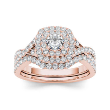 jcpenney.com | 7/8 CT. T.W. Diamond 10K Rose Gold Bridal Ring Set