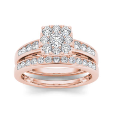 jcpenney.com | 1 CT. T.W. Diamond Cluster 10K Rose Gold Bridal Ring Set