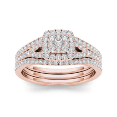 jcpenney.com | 3/4 CT. T.W. Diamond Cluster 10K Rose Gold Bridal Ring Set