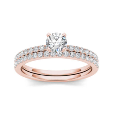 jcpenney.com | 3/4 CT. T.W. Diamond 14K Rose Gold Bridal Ring Set