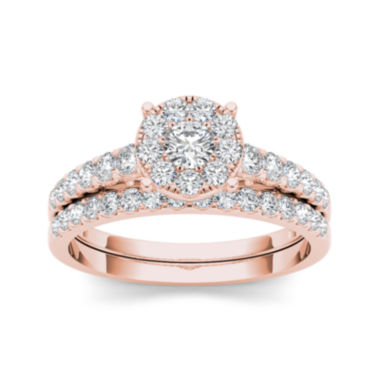 jcpenney.com | 1 CT. T.W. Diamond 10K Rose Gold Bridal Ring Set