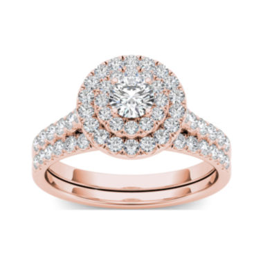 jcpenney.com | 1 CT. T.W. Diamond 10K Rose Gold Bridal Set Ring