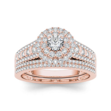 jcpenney.com | 1 CT. T.W. Diamond 10K Rose Gold Bridal Set