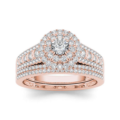 1 CT. T.W. Diamond 10K Rose Gold Bridal Set