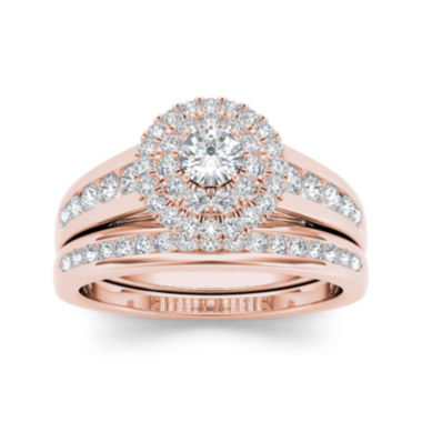 jcpenney.com | 7/8 CT. T.W. Diamond 10K Rose Gold Bridal Set
