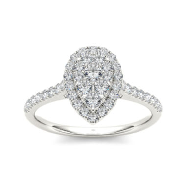 jcpenney.com | 3/4 CT. T.W. Diamond 10K White Gold Pear-Shaped Engagement Ring