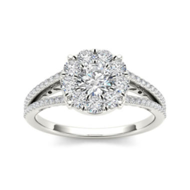 jcpenney.com | 1 CT. T.W. Diamond Cluster 10K White Gold Engagement Ring