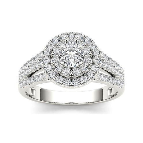 1 CT. T.W. Diamond Halo 10K White Gold Engagement Ring
