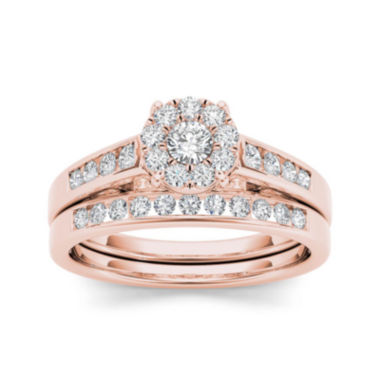 jcpenney.com | 1/2 CT. T.W. Diamond 10K Rose Gold Bridal Ring Set