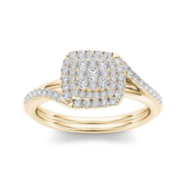 jcpenney.com | 1/2 CT. T.W. Diamond Cluster 10K Yellow Gold Engagement Ring