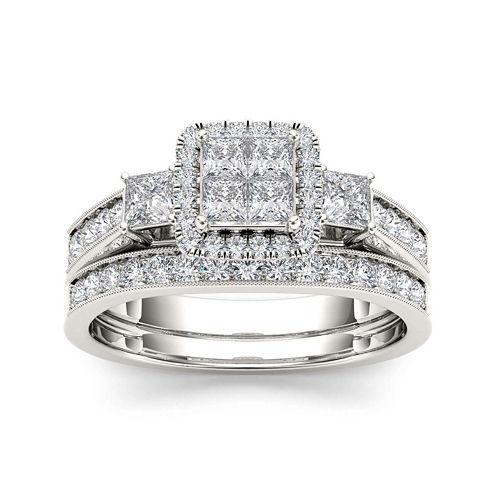 1 CT. T.W. Diamond Cluster 10K White Gold Bridal Ring Set