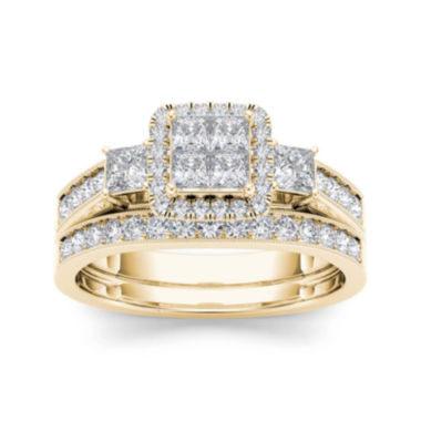jcpenney.com | 1 CT. T.W. Diamond Cluster 10K Yellow Gold Bridal Ring Set