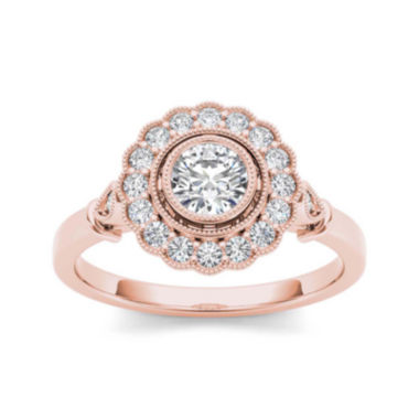 jcpenney.com | 1/2 CT. T.W. Diamond Flower Halo 10K Rose Gold Engagement Ring