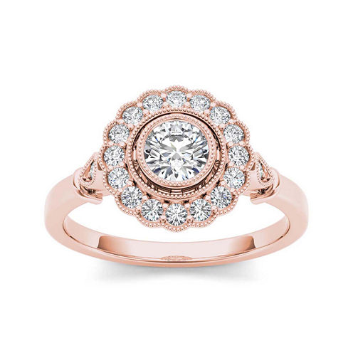 1/2 CT. T.W. Diamond Flower Halo 10K Rose Gold Engagement Ring