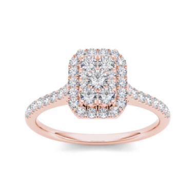 jcpenney.com | 3/4 CT. T.W. Diamond 10K Rose Gold Square-Shaped Engagement Ring