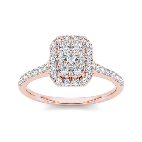 3/4 CT. T.W. Diamond 10K Rose Gold Square-Shaped Engagement Ring