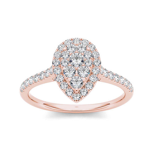 3/4 CT. T.W. Diamond 10K Rose Gold Pear-Shaped Engagement Ring
