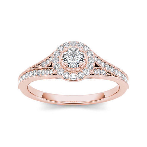 5/8 CT. T.W. Diamond 14K Rose Gold Engagement Ring