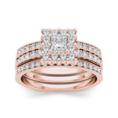 jcpenney.com | 7/8 CT. T.W. Diamond 14K Rose Gold Bridal Ring Set