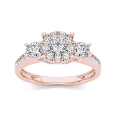 jcpenney.com | 1 CT. T.W. Diamond 10K Rose Gold 3-Stone Ring