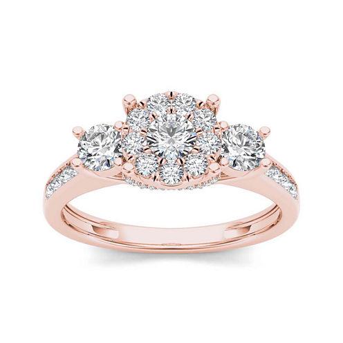 1 CT. T.W. Diamond 10K Rose Gold 3-Stone Ring