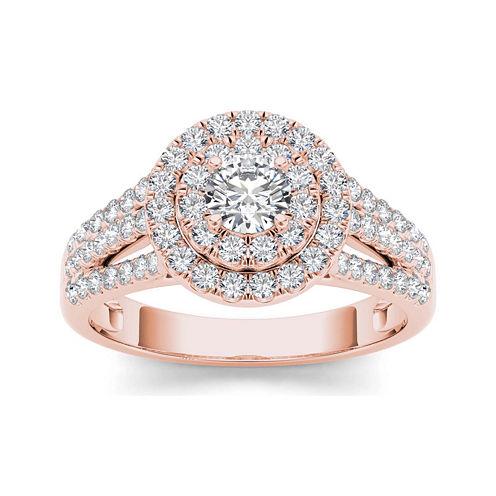 1 CT. T.W. Diamond Halo 10K Rose Gold Engagement Ring