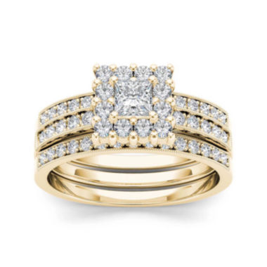 jcpenney.com | 7/8 CT. T.W. Diamond 14K Yellow Gold Bridal Ring Set