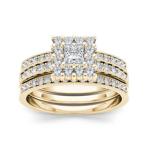 7/8 CT. T.W. Diamond 14K Yellow Gold Bridal Ring Set
