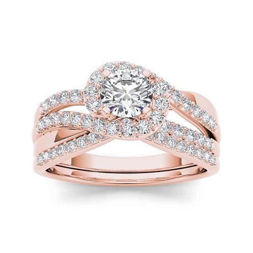 1 CT. T.W. Diamond 14K Rose Gold Bridal Set