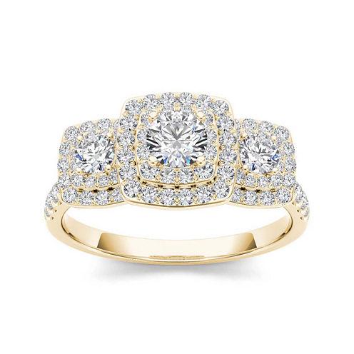 1 CT. T.W. Diamond Halo 10K Yellow Gold Engagement Ring