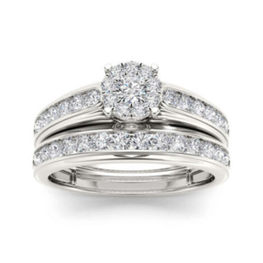 jcpenney.com | 1 1/2 CT. T.W. Diamond 10K White Gold Bridal Ring Set