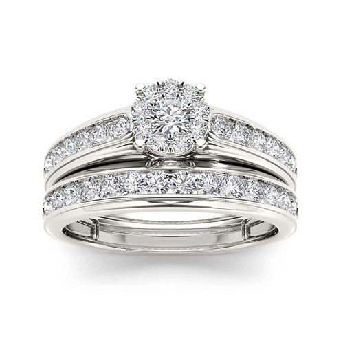 1 1/2 CT. T.W. Diamond 10K White Gold Bridal Ring Set