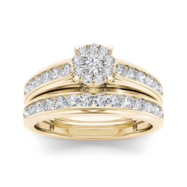 jcpenney.com | 1 1/2 CT. T.W. Diamond 10K Yellow Gold Bridal Ring Set