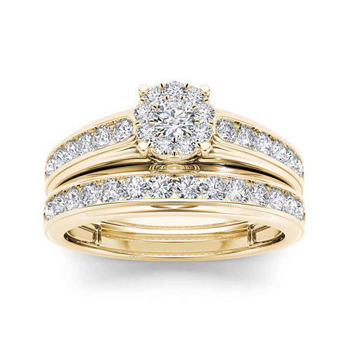 1 1/2 CT. T.W. Diamond 10K Yellow Gold Bridal Ring Set