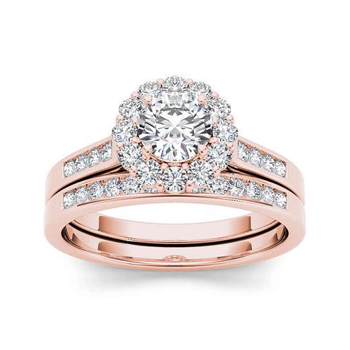 1 CT. T.W. Diamond 14K Rose Halo Bridal Set