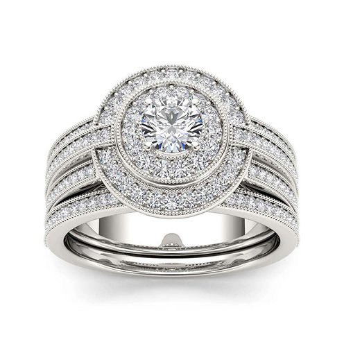 1 CT. T.W. Diamond 14K White Gold Bridal Ring Set