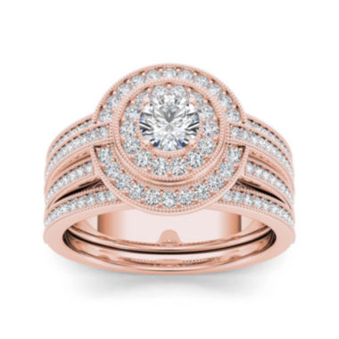 jcpenney.com | 1 CT. T.W. Diamond 14K Rose Gold Halo Bridal Ring Set