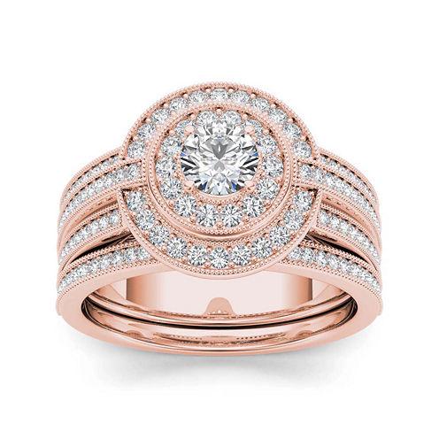 1 CT. T.W. Diamond 14K Rose Gold Halo Bridal Ring Set