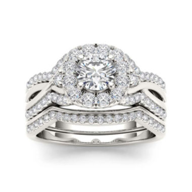jcpenney.com | 1 1/4 CT. T.W. Diamond 14K White Gold Halo Bridal Ring Set