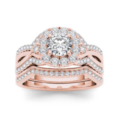 jcpenney.com | 1 1/4 CT. T.W. Diamond 14K Rose Gold Halo Bridal Ring Set