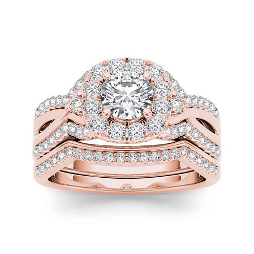 1 1/4 CT. T.W. Diamond 14K Rose Gold Halo Bridal Ring Set