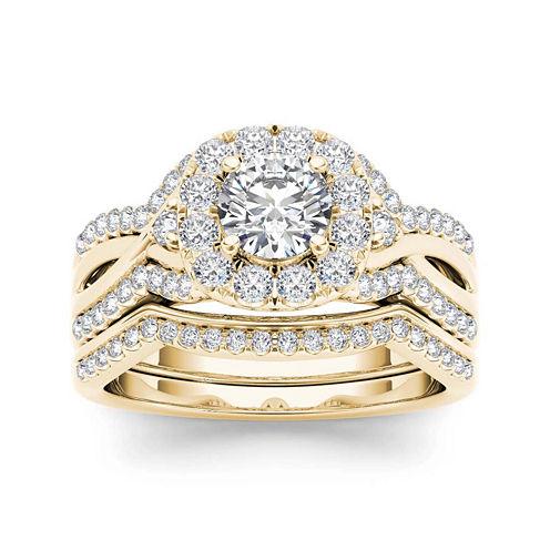 1 1/4 CT. T.W. Diamond 14K Yellow Gold Halo Bridal Ring Set