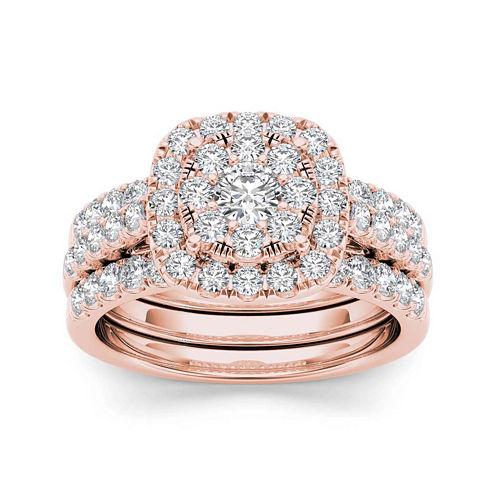 1 1/2 CT. T.W. Diamond 14K Rose Gold Bridal Ring Set