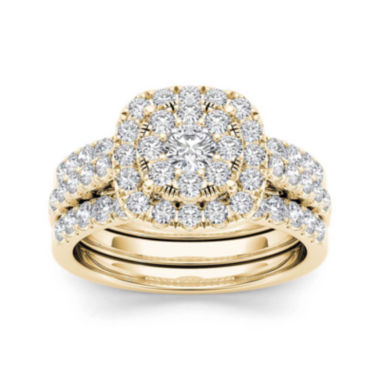 jcpenney.com | 1 1/2 CT. T.W. Diamond 14K Yellow Gold Bridal Ring Set